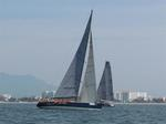 Big Mexorc boats like Peligroso need lots of windward ballast, in crew, to sail optimally upwind.