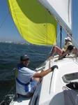 A great sail downwind under the yellow Spinnaker