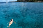 Floating in the warm clear water of the BVI